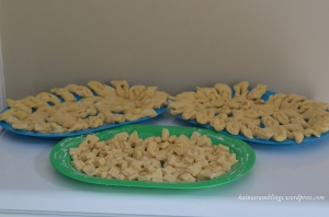 shaped dough in trays